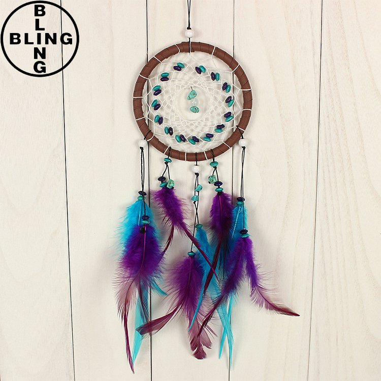 >>>Blue dream catcher with feathers wall hanging decoration decor ornament wind climes/