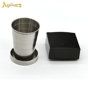 Outdoor Portable stainless steel folding travel cup,telescopic folding cup with key chain