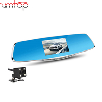 4.3inch car DVR 1080P dual lens dash cam car camera rearview mirror with blue glass