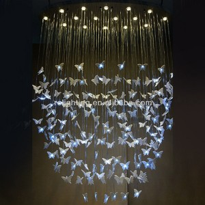 Modern Stainless Steel and Acrylic Butterfly Ceiling Pendant Light