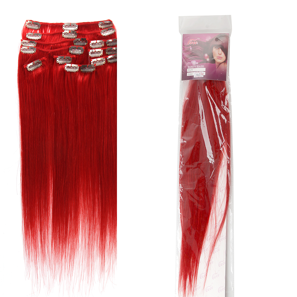 Brazilian Remy Clip In Hair Extensions # Bright Red 16-24 '' Silky Straight top human hair  9pcs/set 70g  for white women DHL