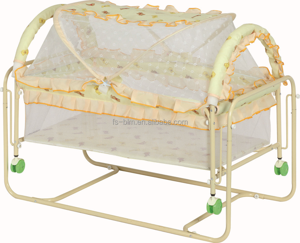 Baby bed net - Hot Sale Simple Iron Frame Baby Bed Baby Crib Swing Bed With Mosquito Net 2560