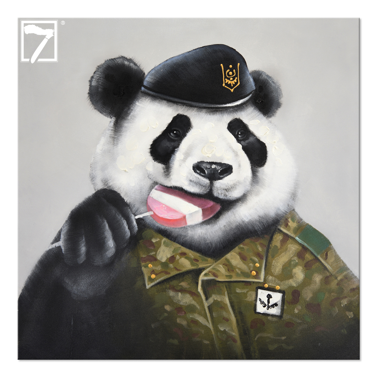 Hot Sell Cute Panda Wall Art Animal Oil Painting For Home