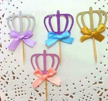 Girl 1st Birthday Decorations Cupcake Toppers PicksKids Party Decoration Gold And Pink Crown Baby