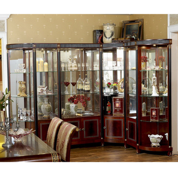 YB10 Luxury Baroque Classic Living Room Display Cabinet European Antique  Mahogany Wooden Corner Wine Display Cabinet Part 63