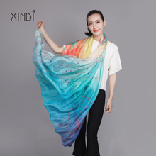 Howmay silk scarf chiffon 100% pure silk shawl gradient pattern digital print for women