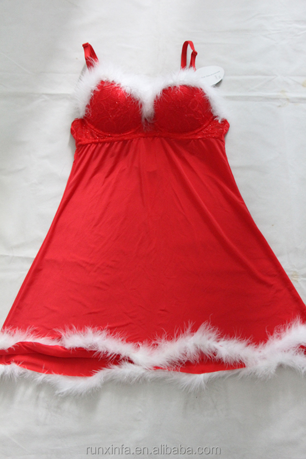 Red sexy lingerie babydoll with white fur trimming for Christmas