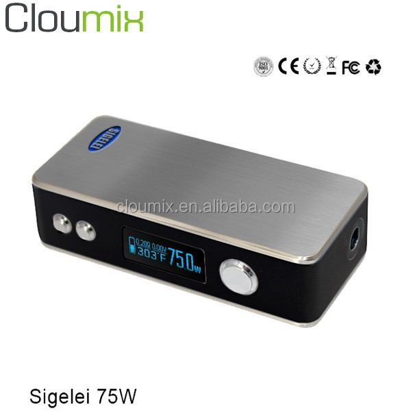 2015 Excellent quality e cigarette sigelei 75 watt ecig mod/ sigelei single 18650 75W box mod