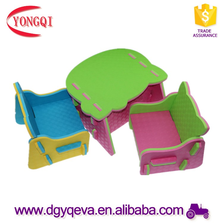 Animal design and Hot selling eva foam children table and chair set