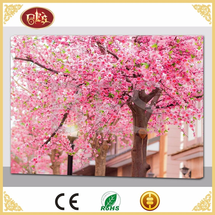 BES LED Spring Pink Oil Painting On Canvas Handmade Modern