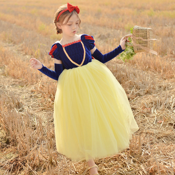 Snow White Cosplay Girl Dress Velvet Lace Cute Clothing with Hair Accessories Gloves Cape Wedding Stage Party Children  Dresses