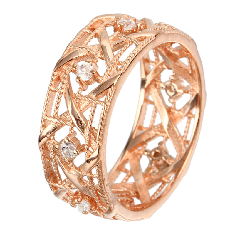 925 Sterling Silver Grids Rings Fine Jewelry For Woman Rose Gold Charm Stone Wedding Grids Ring 2015 Fashion Luxury Nest Anillos