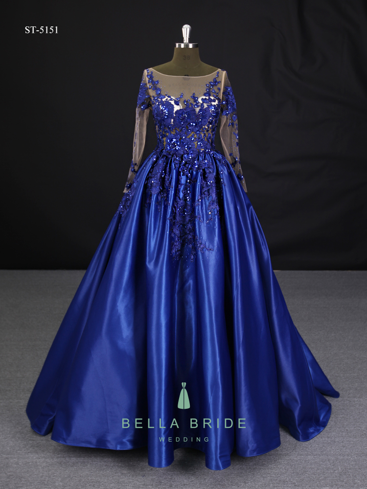 2017 Latest Gown Long Sleeves Satin Fabric Designs Evening Dress ...