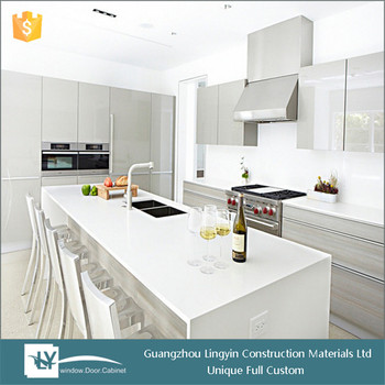 Modern High Gloss Finish Lacquer Grey Kitchen Cabinets Hot Sale - Gray kitchen cabinets for sale