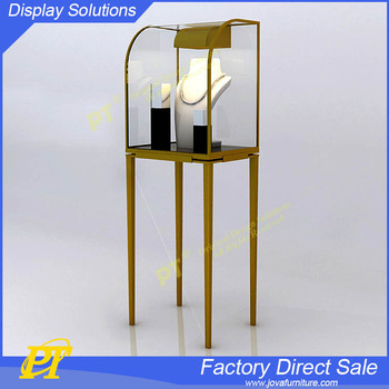 Metal Glass Jewellery Display Cabinet Jewelry Display Showcase Tower Design