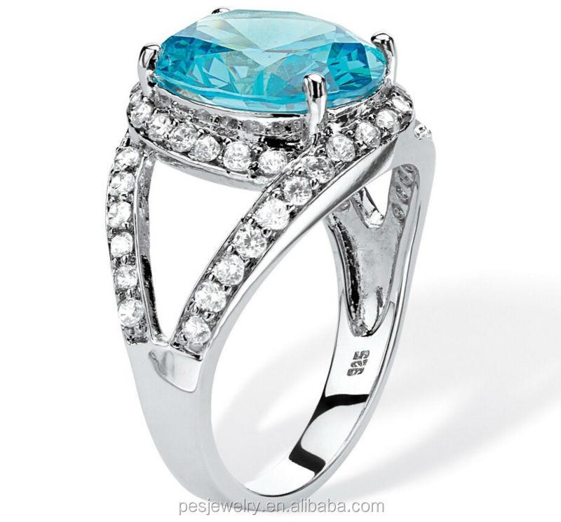 New Design Aquamarine Lots Full Of Diamond Women Rings (pes6-156 ...