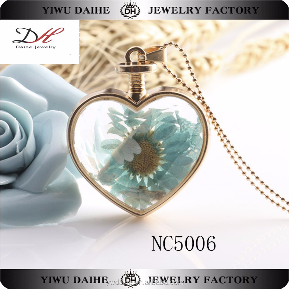 Charm Necklace Floating Locket Pendant Necklece Stainless Steel Glass Flowers Necklace #NC5006