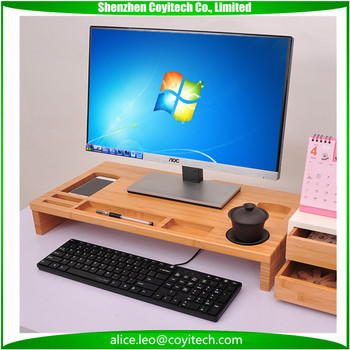 For Imac Bamboo Monitor Stand Desk Riser With Organizer And Holding