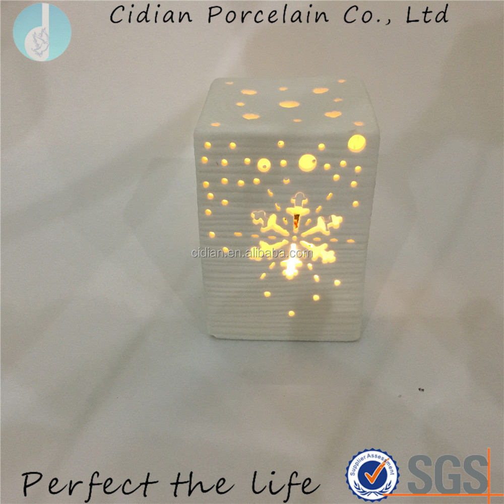 Ceramic square LED night stand night light with Snow design