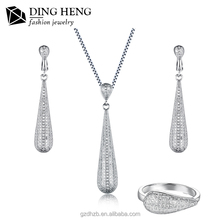 Best Quality 925 Sterling Silver Fashion Bridal Crystal Heavy Necklace Set Jewelry