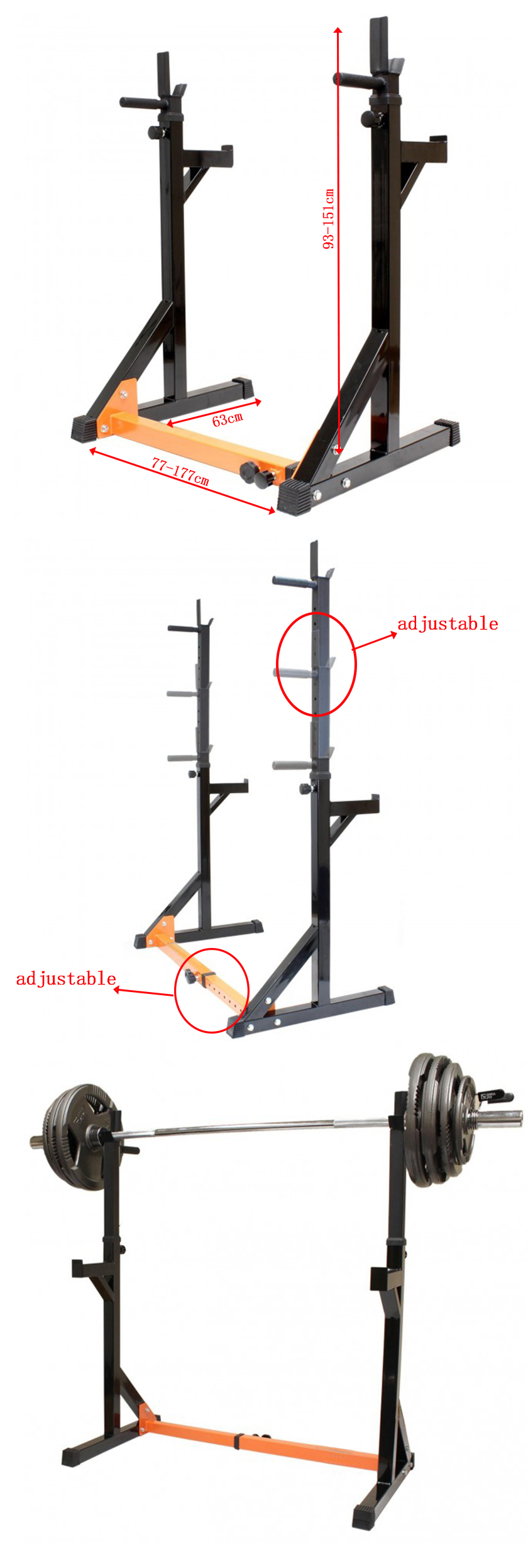 Adjustable Heavy Duty Squat Rack and Dip Stand for Standard Bars