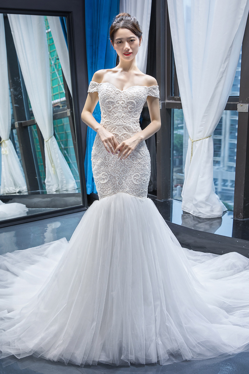 RSM66582 Jancember Putih Elegan Unik FASHION Barat Pola Suzhou Sempurna Layak Mermaid Wedding Dress