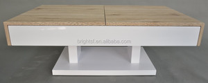 2015 mordern design MDF high gloss white + San Remo coffee table with drawer