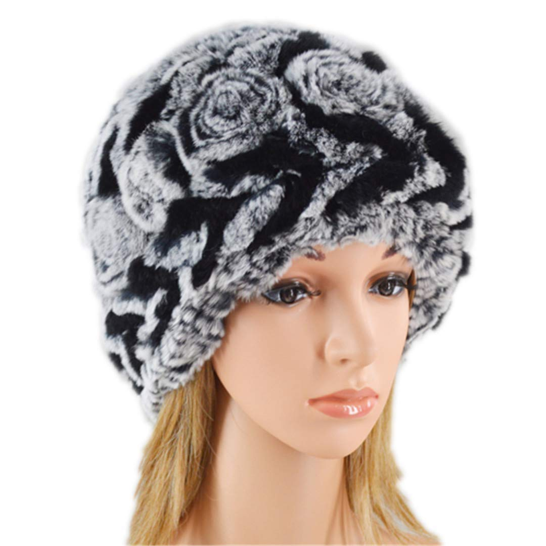 fe0f2364504 Get Quotations · Cashent Good Elasticity Real Rex Rabbit Fur Hat Ladies  Knit Rex Rabbit Fur Hat Winter Stripes