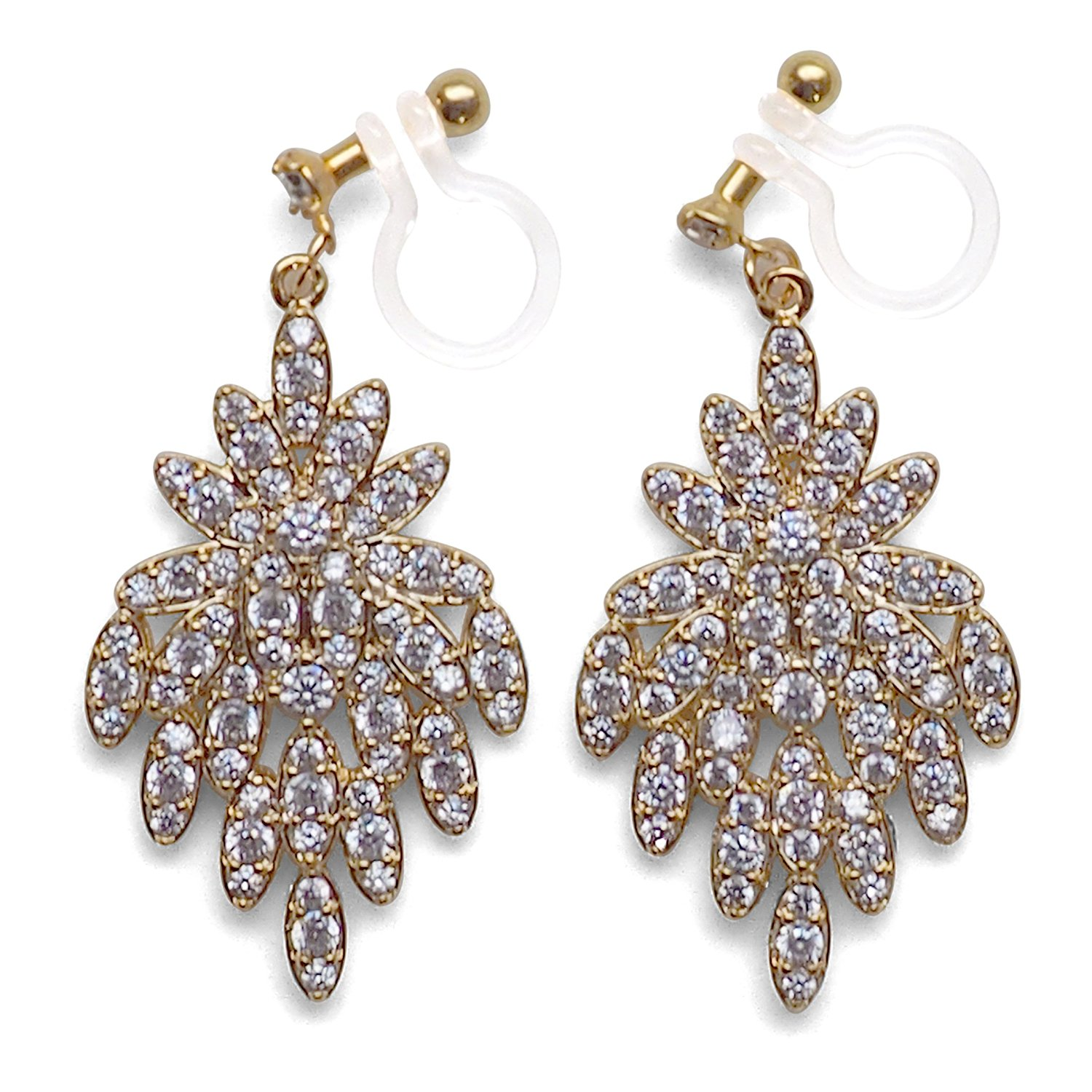 Bridal Wedding Cubic Zirconia Crystal CZ Flower Invisible Clip on Drop Earrings for Women Gold tone