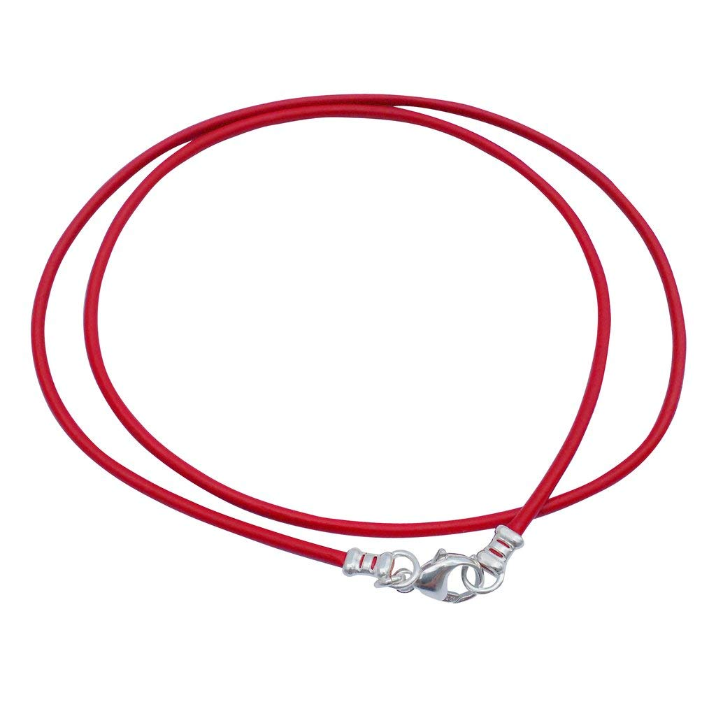 DragonWeave Sterling Silver 1.8mm Fine Red Leather Cord Necklace
