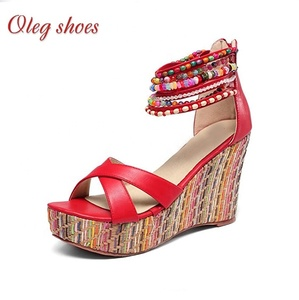 Womens Shoes Ladies Wedge Heel Platform Sandals with Color beaded