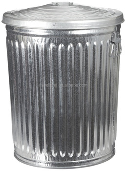 75l Large Vintage Galvanized Metal Trash Can Garbage Bin Waste With Handle