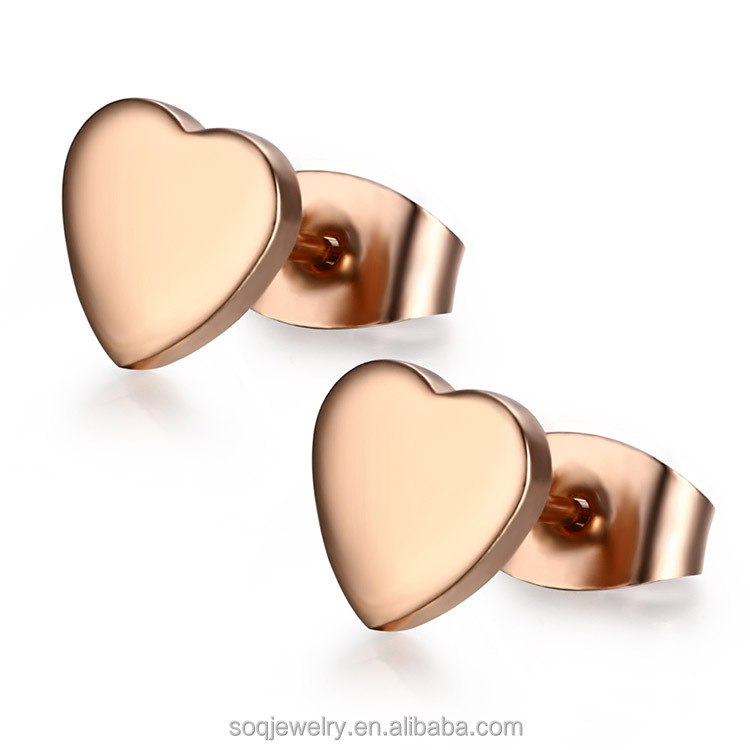 Alibaba Fashion stainless steel high polished plated rose gold Heart earrings