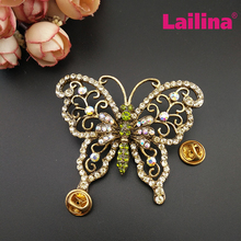 New Arrival Custom Made Vintage Brooches Luxurious Antique Gold-tone Butterfly Rhinestone Crystal Insects Brooch Pin