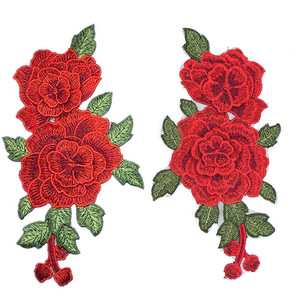 2pcs Red Flower Floral Lace Embroidery Patch Motif Trim Sew/Iron on Applique
