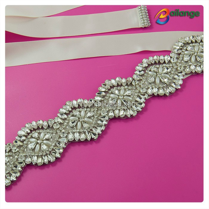 wholesale high quality silver bridal rhinestone belt wedding dress sash
