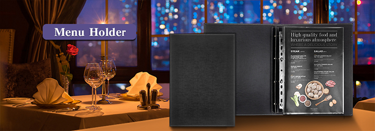 Customized Restaurant A5 Leather Menu holder