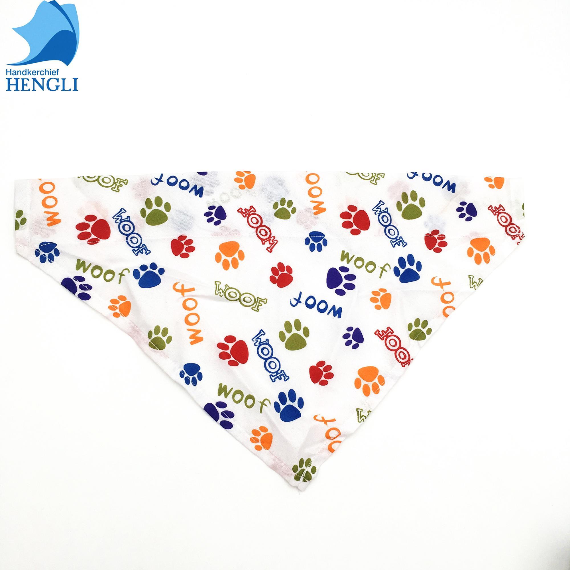 Wholesale custom printed soft 100% cotton or polyester triangle dog pet scarf bandana custom logo