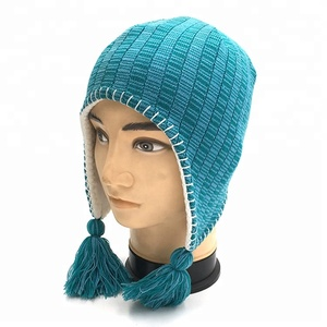 d61ecbad614 High Quality Custom Knit Beanie Cap Winter Knitted Hat With Two Strings On  Side
