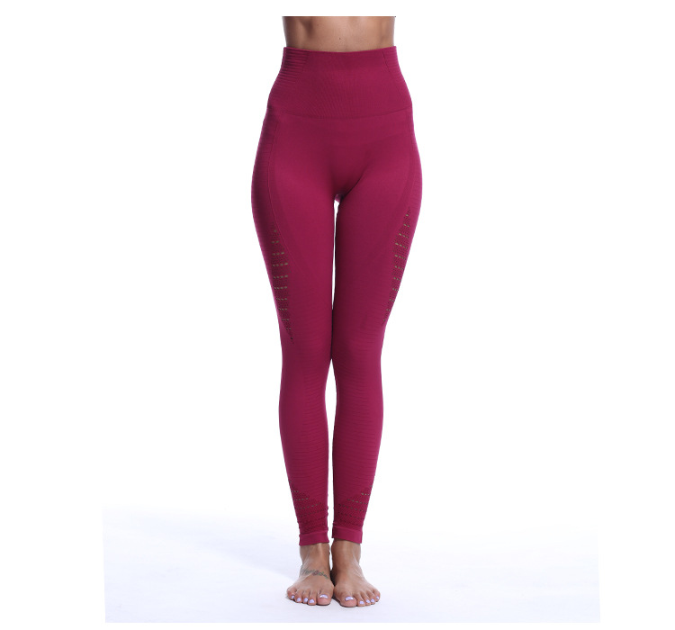 Hot Sale Sexy fitness Yoga <strong>Sports</strong> With Hollowed-out Jacquard Pants Gym Wear Leggings Athlete Work Out Apparel For Ladies