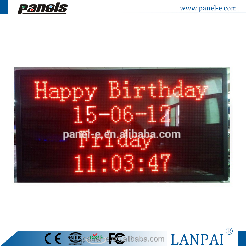 Indoor Use D64*128R Single Red Color Text Scrolling Display Digital Led Clock