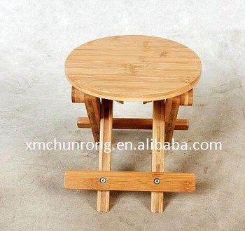 potable round bamboo folding stools small bamboo foldable chair wholesale