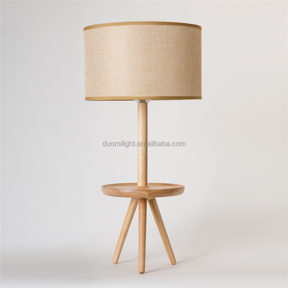 Wooden Craft Tripod Base Black Linen Cloth Small Bedside Table Lamps