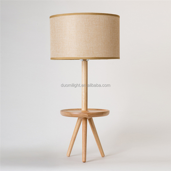 Wooden Craft Tripod Base Black Linen Cloth Small Bedside Table Lamps For Bedroom Wood Lamp Switch Chandelier