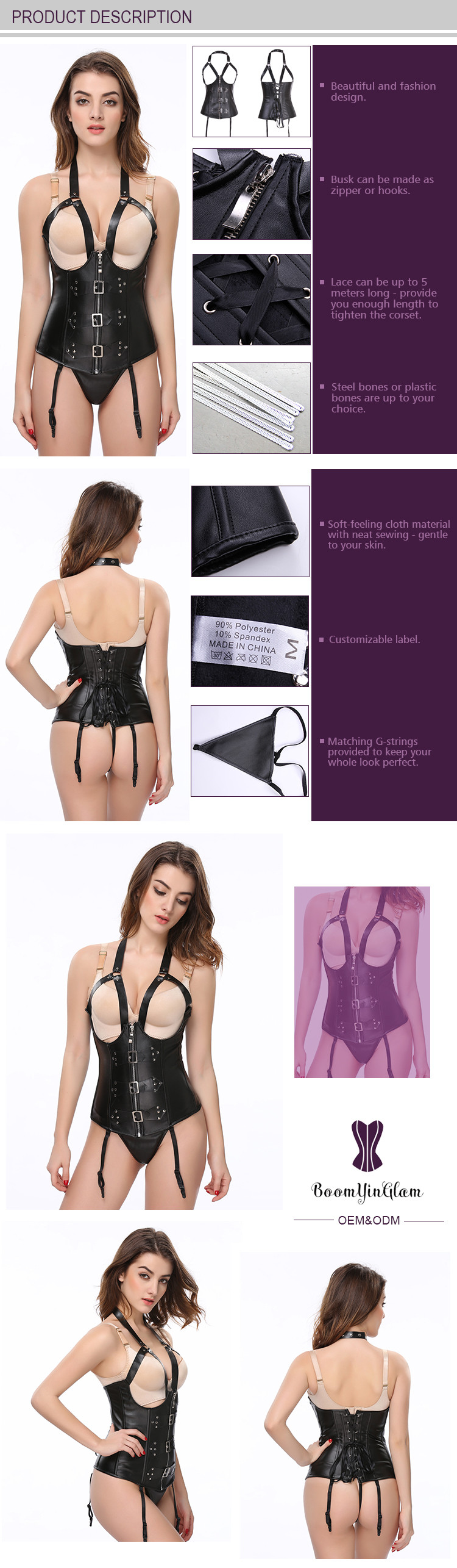 8a7305fef4 Sexy nightwear slimming costumes halter faux leather girdle shapewear  cupless corset