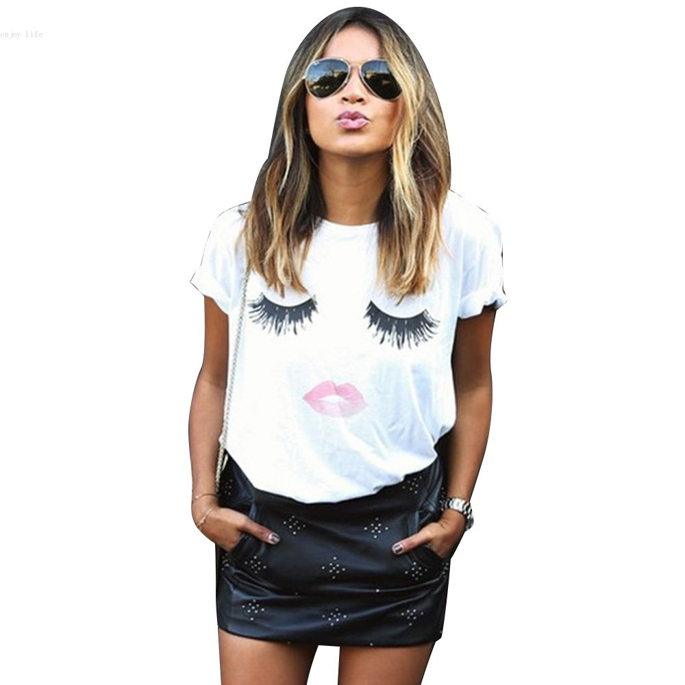 New Women Fashion Short Sleeve O Neck Casual Loose Graphic ...