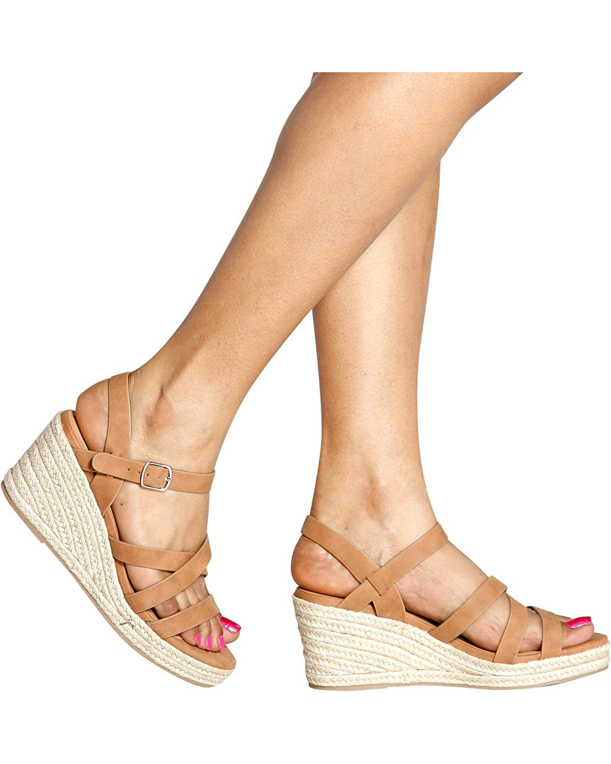Soda Women's Casual Open Toe Strappy Ankle Strap Espadrille Wedges