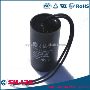 cbb60 capacitor 100MF 400VAC AC Motor Run Capacitor Plastic Can P0 Flexible Wire Leading