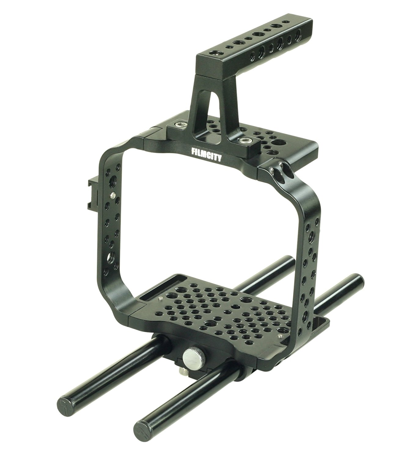FILMCITY Power Sleek Cage Rig for Blackmagic Cinema Production Camera 4k (FC-SC-P) | BMCC Cage with Top Handle & 15mm Rod Support for Mounting Accessories