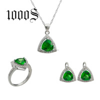 Indian Cubic Zirconia Jewelry Necklace Triangle Set Wedding Jewellery Designs 925 Gemstone Jewellery
